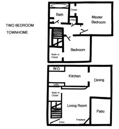 2 BR Townhomes For Rent in Columbus, OH Floor Plan