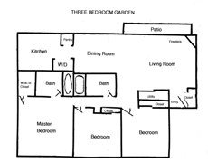 3 BR Garden Apartment Columbus, OH Floor Plan